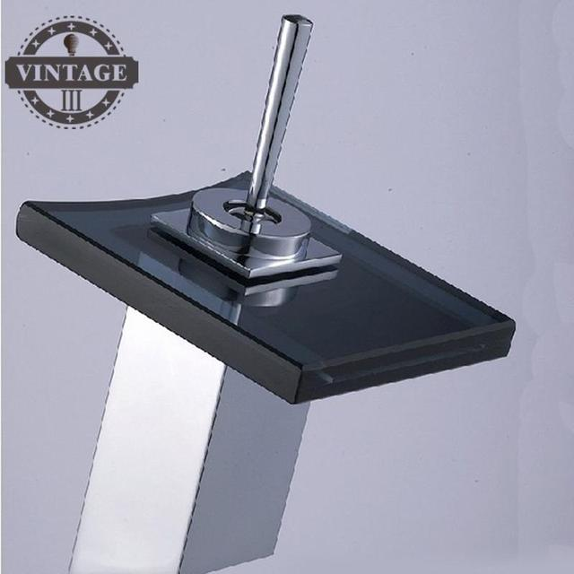 Contemporary Bathroom Square Glass spout Waterfall Faucet Basin Sink ...