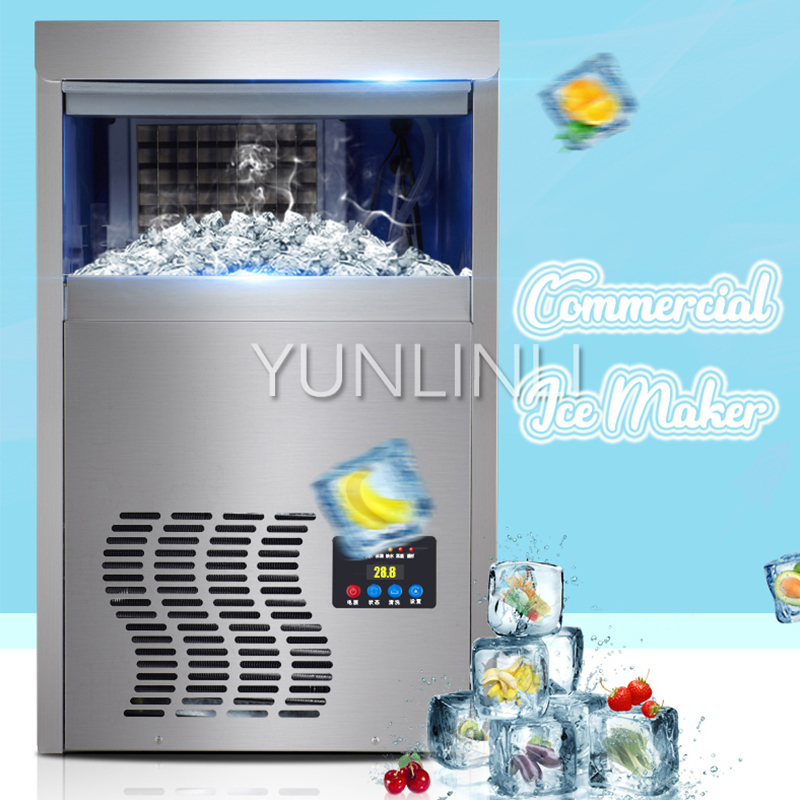 55KG/24H Commercial Electric Ice Maker Bottled Water Inlet Type & High Production Of Ice Ice Cube Machine HZB-12/A льдогенератор i ice im 006 a hzb 12 a нержавейка