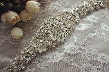 rhinestone applique, crystal beaded bridal belt wedding sash applique