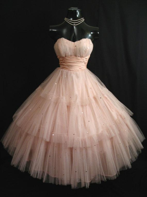 Vintage 1950's Shell Pink Short Prom Dresses Tulle Sequins ...