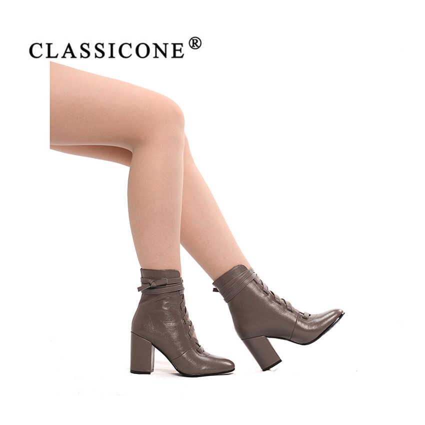 9c52e9f5e ... CLASSICONE женская обувь 2018 новинка весна осень кожаные ботильоны на  шнуровке женские ботинки женские сапоги женские ...