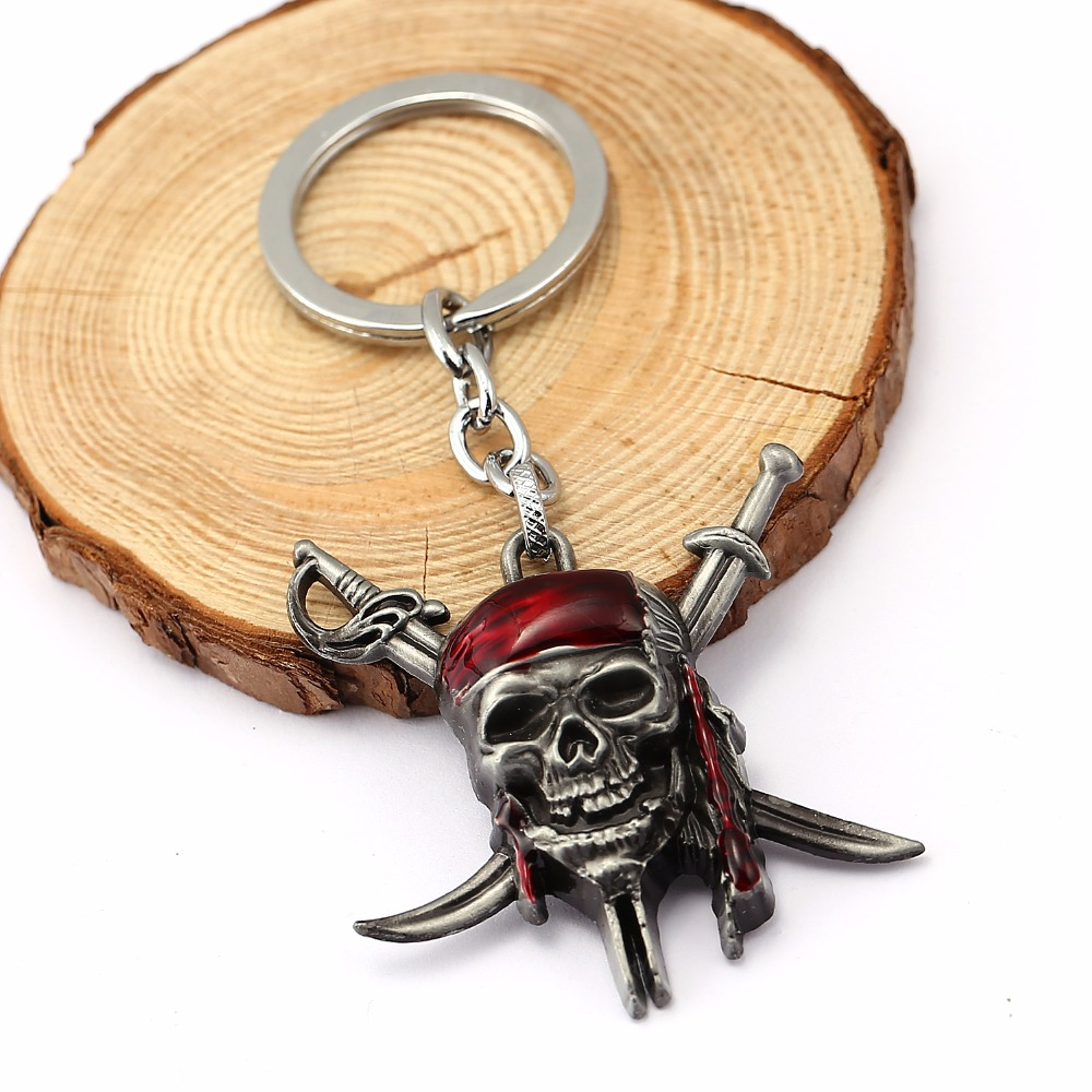 HSIC 5pcslot Pirates of the Caribbean Keychain Captain Jack Sparrow Mask Skull and Crossbones Keychain Wholesale HC11851