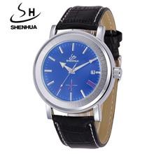 SHENHUA Watches Classic Mens AUTO Date Automatic Mechanical Watch Self-Winding Analog Small Seconds Leather Man Wristwatch