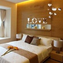 Pegatinas de espejo para pared, decoración de corazón de amor, espejo 3d acrílico, arte para el hogar, nuevo estilo