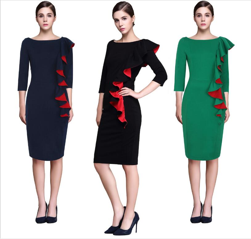 2018 Womens summer Elegant Sexy Ruffle Sleeve Ruched Party Wear To Work Fitted Stretch Slim Wiggle Pencil Sheath Bodycon Dress