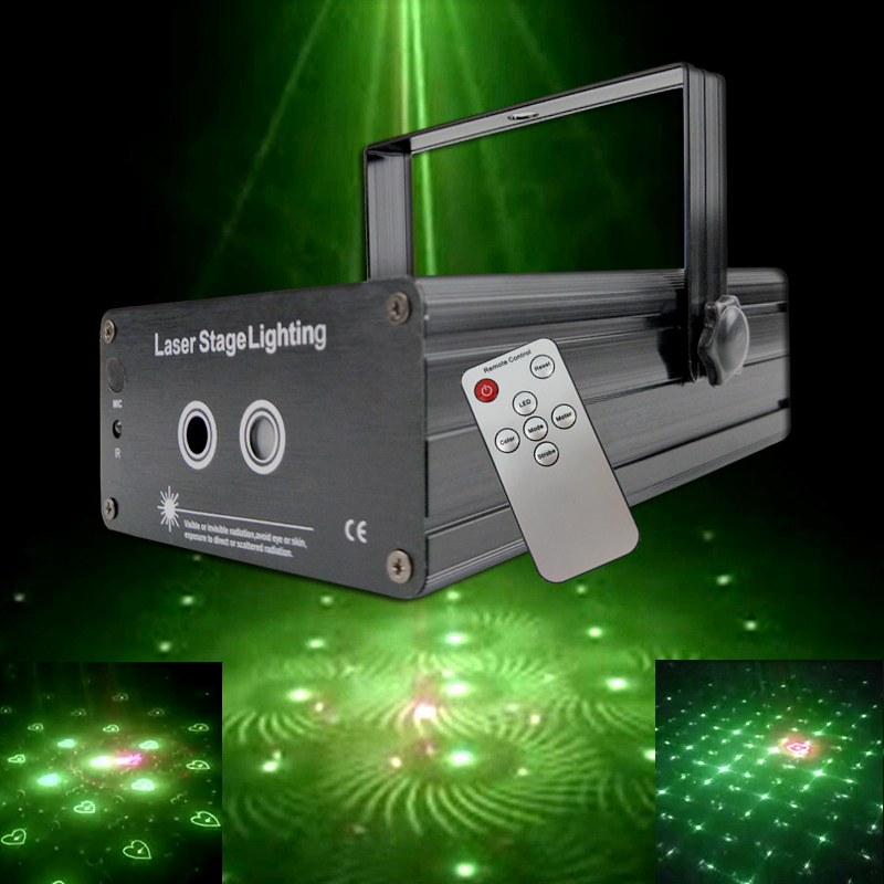 ATREUS LED Laser Stage Lighting 48 Patterns RGB Mini Laser Projector Red Green Light Effect Show For DJ Disco Party club Lights mini 300mw rgb laser stage lighting effect red green blue mixing dj disco light bar party xmas laser projector show lights