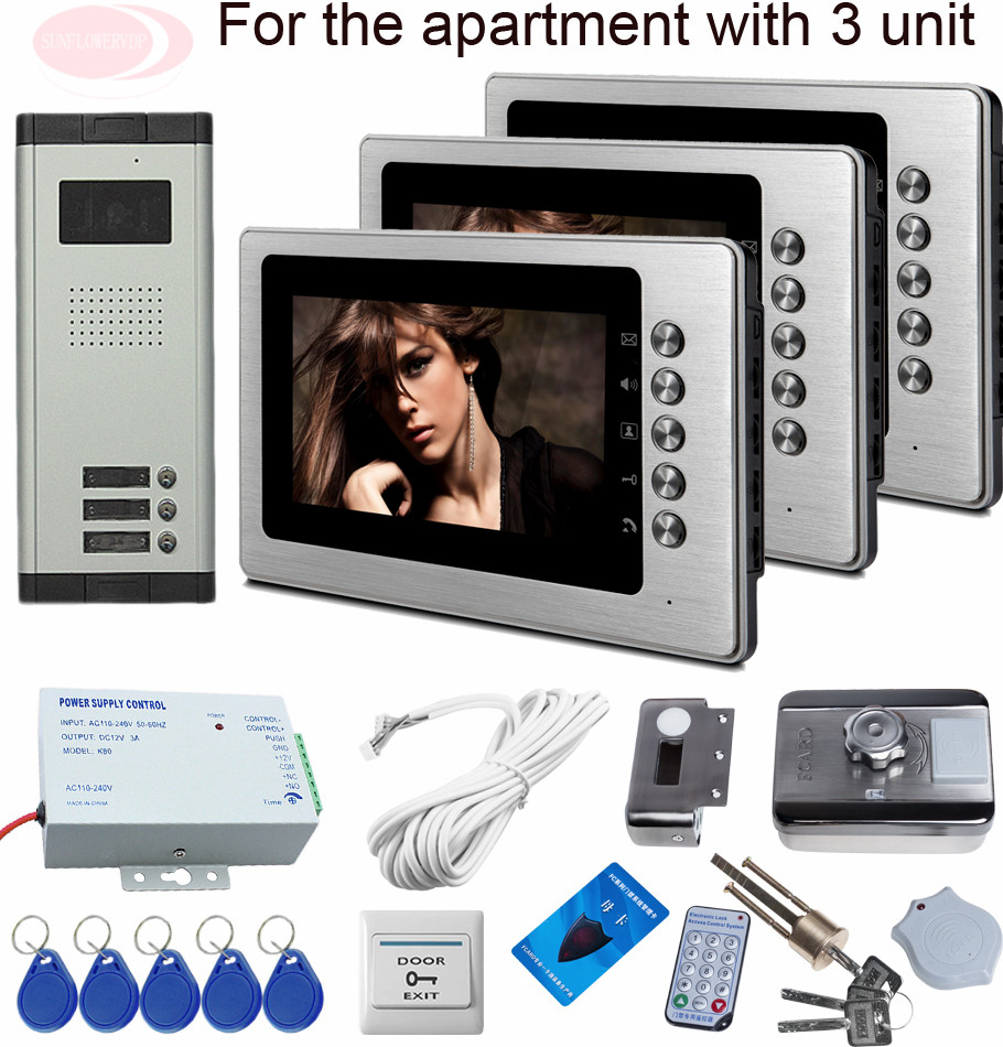 Video Intercom Monitor For Doorphone Rfid Electronic Lock 3 Buttons Surveillance Camera Intercoms For Buildings Of  Apartments 4 3inch color tft lcd wired monitor video door telephone rfid unlock electronic lock video cameras for video doorphone 2 buttons