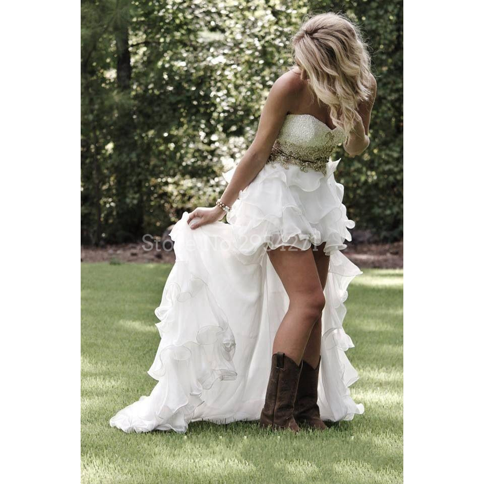 Wedding Gowns With Sashes: High Low Western Country Wedding Dresses Beaded With Sash
