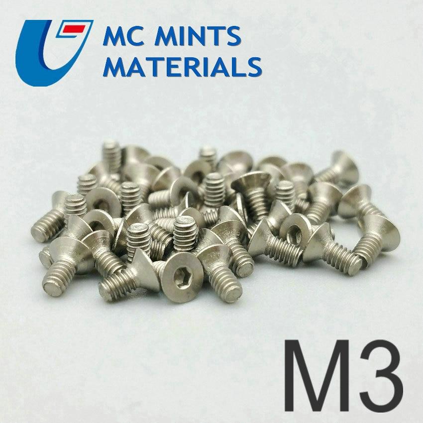 Titanium Bolt M3 X6-25mm Flat Head Hexagonal Socket Original Grey Color Grade 2 Ti Bolt 24pcs Titanium Screw Ti Fastener