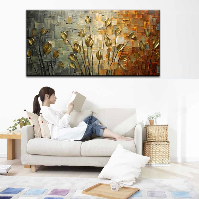 hand painted oil painting Home decoration high quality canvas flower font b knife b font painting