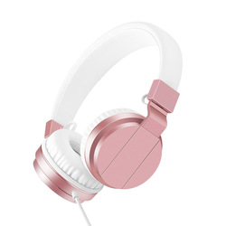 Rose Gold 3.5mm Wired Stereo Headphones with Microphone Volume Control Super Bass HiFi Sound Music Headset for Computer phone