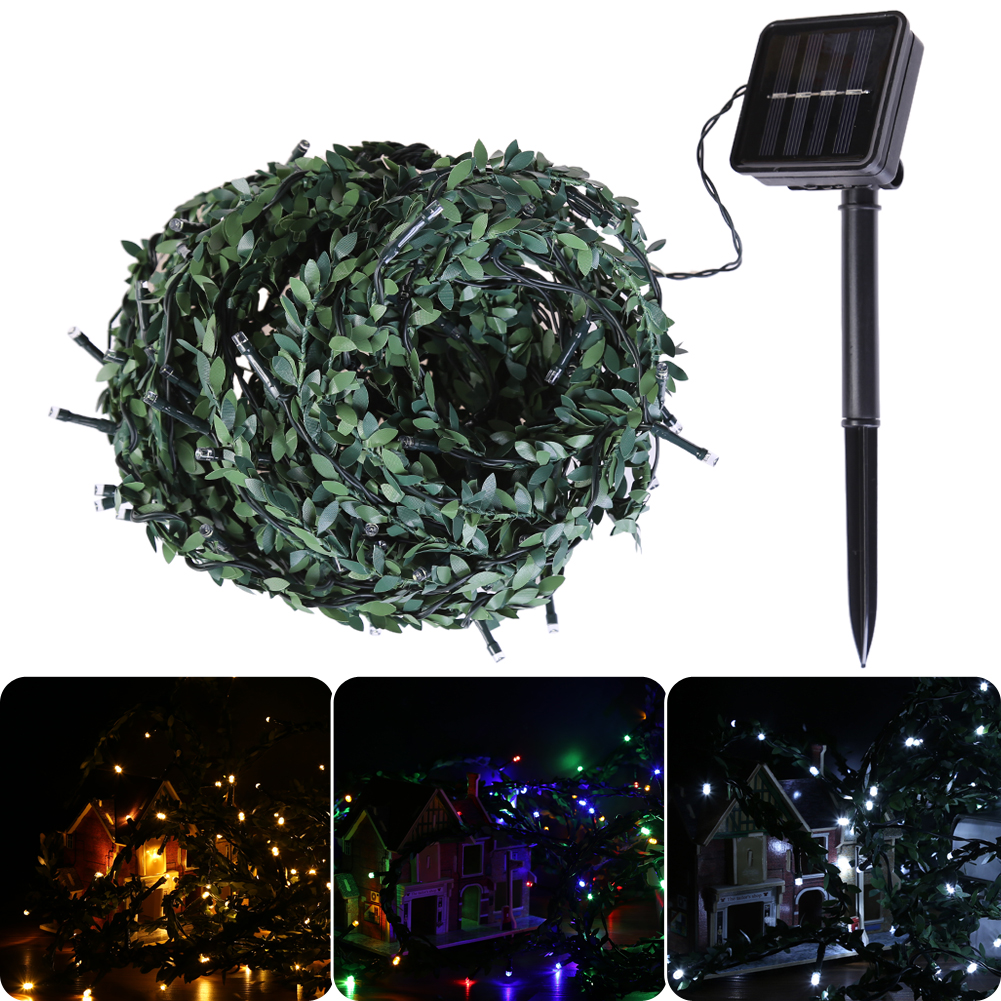 10m led christmas lights leaf string light christmas decoration lights outdoor for home solar energy fairy lights in lighting strings from lights lighting