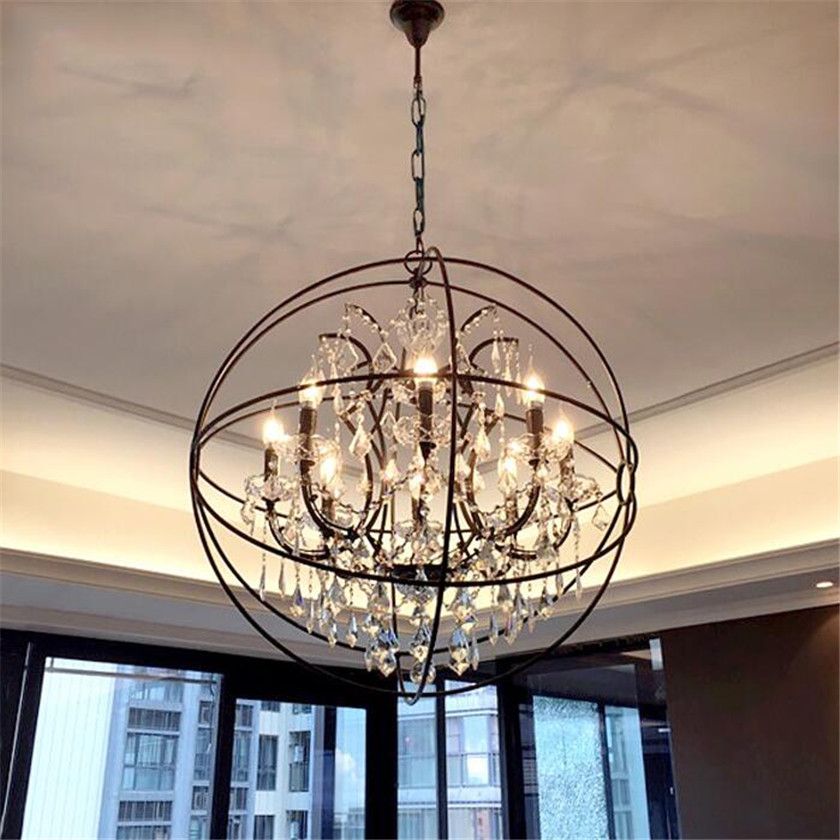Foyer Pendant Crystal Chandelier Lighting Dining Room E14 Led Kitchen Fixture Retro Rust Iron Hanging Lamp Led Chandelier Lustre Ceiling Lights & Fans Chandeliers