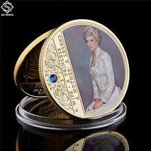 Moneda conmemorativa de la princesa Diana británica coleccionable, rosa con diamante, moneda conmemorativa profesional
