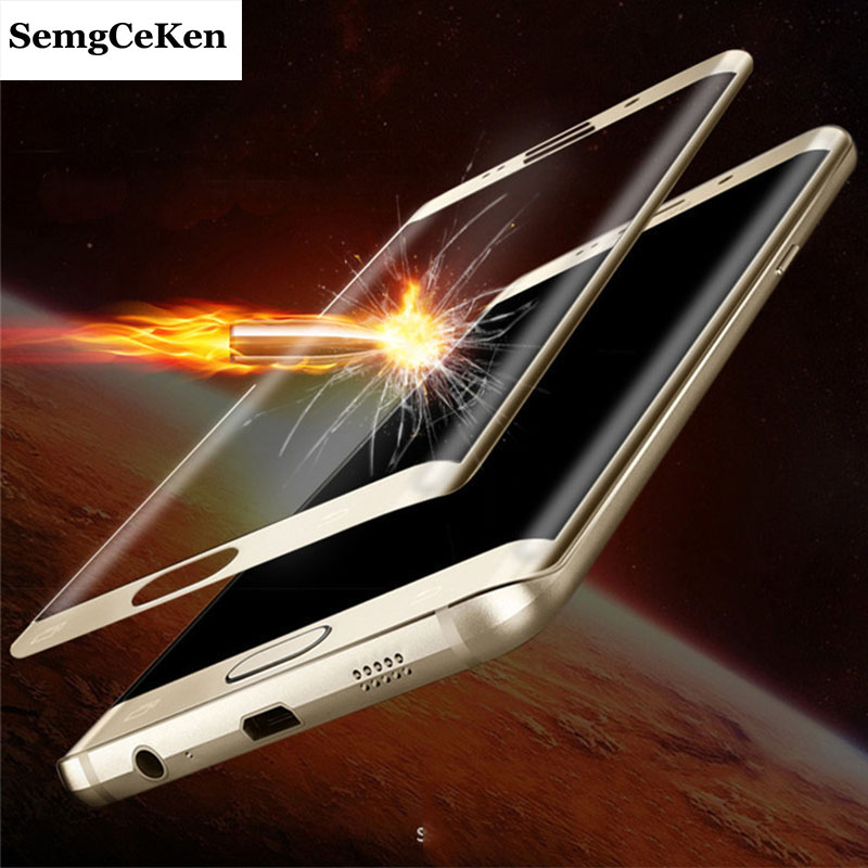 SemgCeKen full 3d curved film tempered glass for samsung galaxy s6 edge plus s6edgeplus 9h front protective screen protector in Phone Screen Protectors from Cellphones Telecommunications