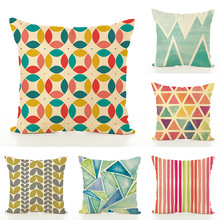 15 style 45x45cm Colorful linen Pillow Printing color geometric cushion pillowcase office car home decorative Waist