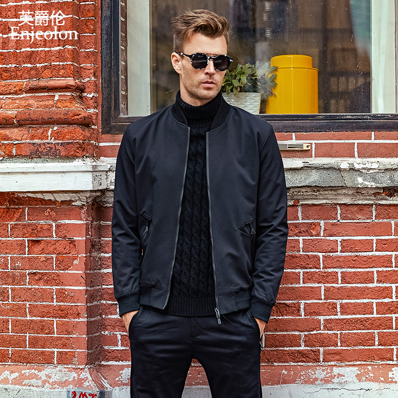 Enjeolon brand casual fashion jackets coat men, black solid Mens plus size 3XL coats clothing stand collar Men clothes JK0431 jeans con blazer mujer