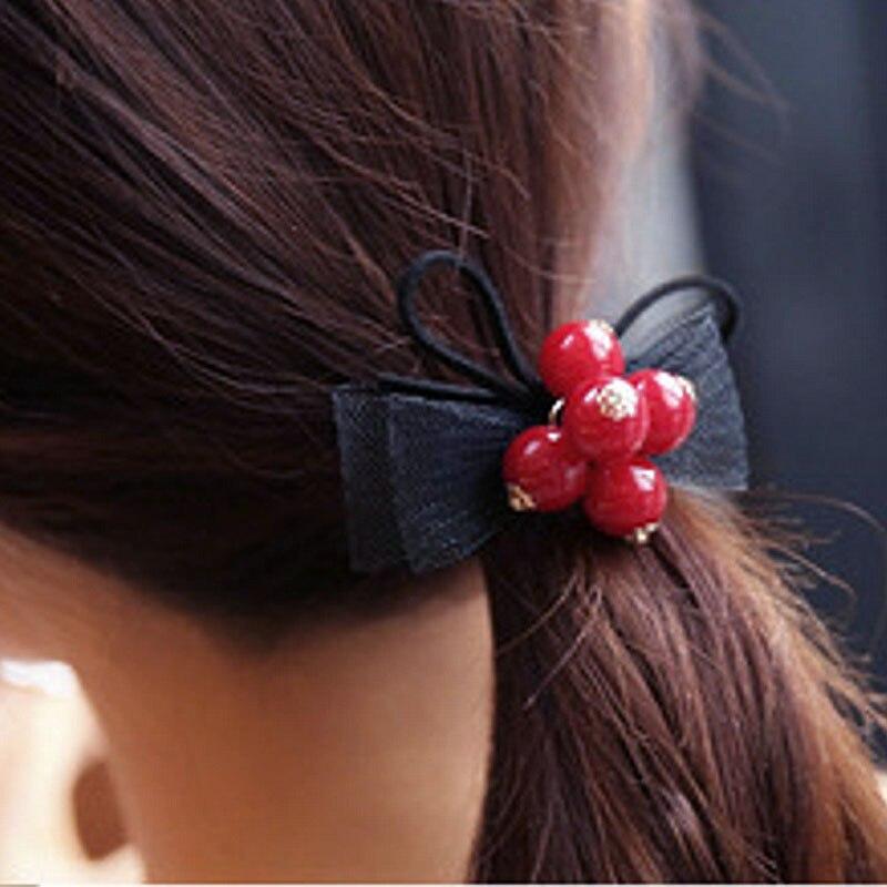 1 шт. распродажа высокое качество милый красный Бусины жемчуг Шнуровка с бантиком Для женщин модная одежда для девочек резиновая веревки, ре...