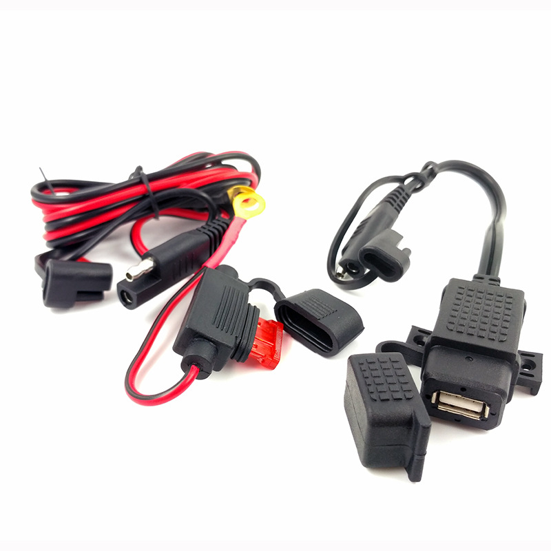 DIY SAE To USB Cable Adapter Waterproof USB Charger Quick 2.1A Port With Inline Fuse For Motorcycle Cellphone Tablet GPS
