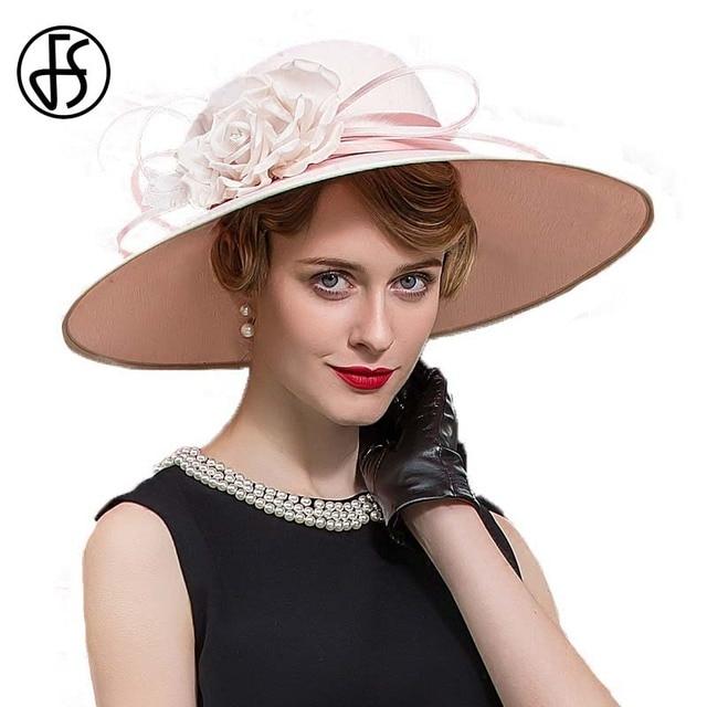 9d4d803cceb FS Elegant Large Wide Brim Pink Flower Fedora For Women Summer Vintage  Ladies Wedding Kentucky Derby Church Hats