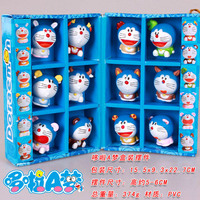 Free Shipping Cute 12pcs Anime Doraemon 12 Chinese Zodiac Boxed PVC Action Figure Collection Model Dolls