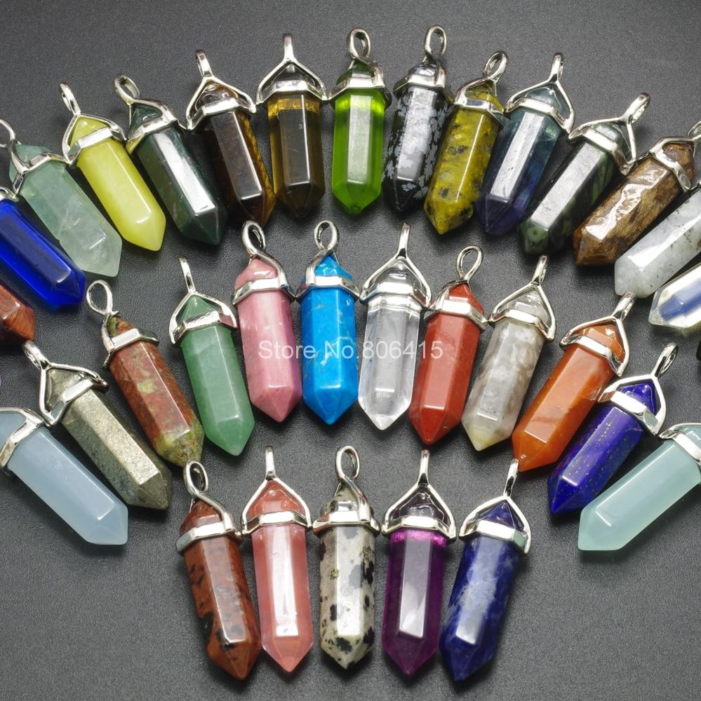 Natural Gemstones Hexagonal Pointed Reiki Chakra Pendant Beads Healing Jewelry J