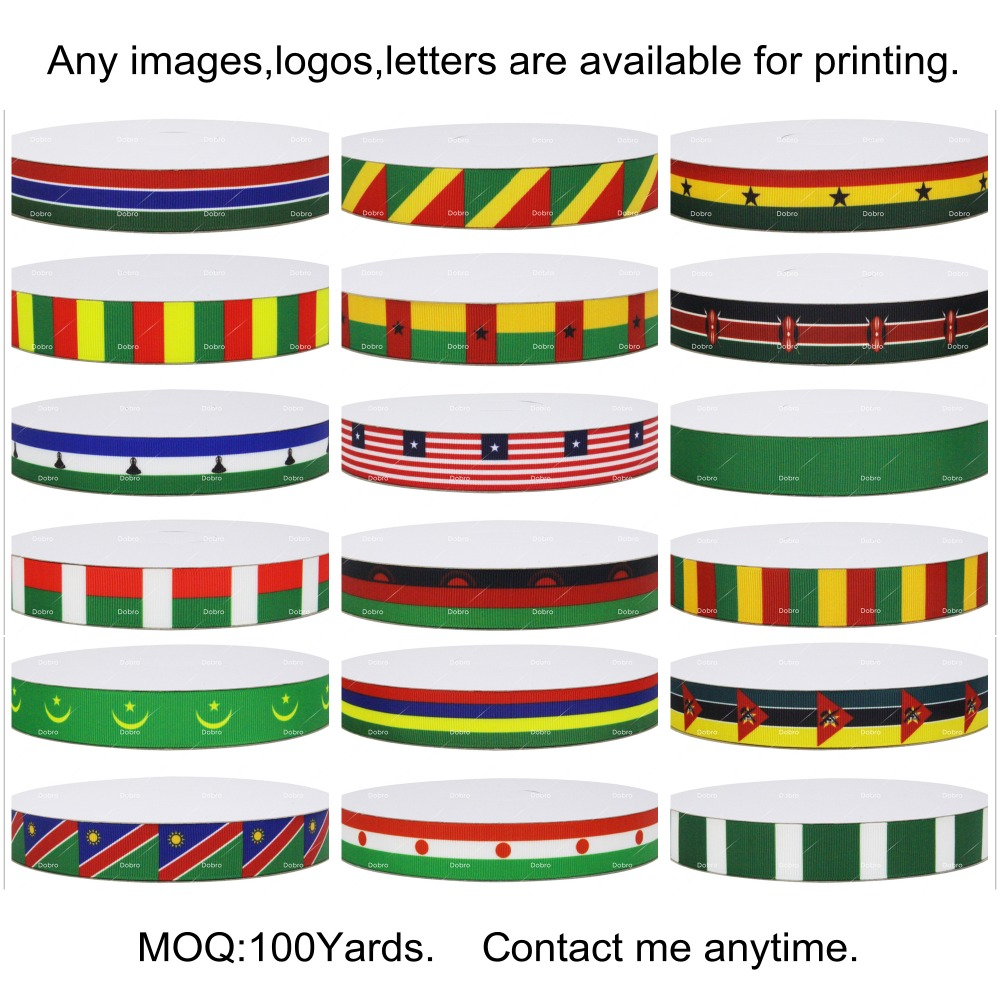 18 Choices Africa National Flag Printed Grosgrain Ribbons For Hair Baby Item Craft Party Candy Gift Packaging Home Decoration