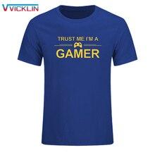 TRUST ME I'M A геймерский смешной напечатанный мужской футболки PS4 xbox компьютерная футболка GEEK Летняя мужская футболка с принтом размер SIXE XS-XXL