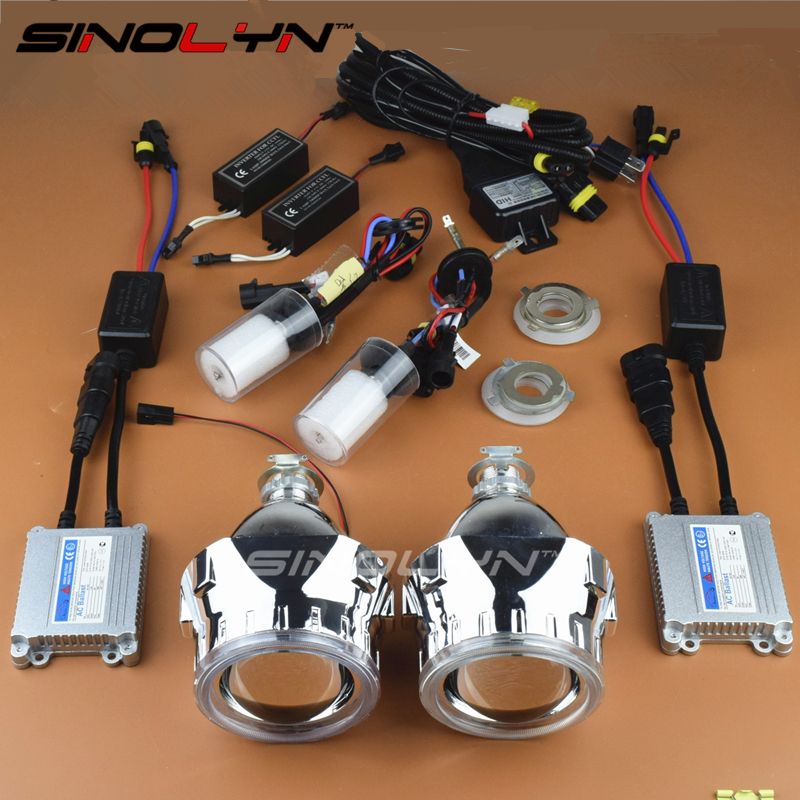 Car/Motorcycle Styling LHD/RHD CCFL Angel Eyes Halo HID 2.5 Bixenon Lens Projector Headlight AC Full Kit H4 H7 Headlamp Lenses sinolyn led angel eyes car projector lens hid bixenon headlight devil evil eyes headlamp retrofit kit for car motorcycle styling