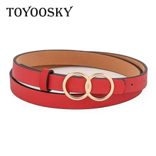 2018 Designer Women Belt PU Smooth Buckle Fashion Round Buckle Solid Long Belt for Jeans High Quality Belts for Female TOYOOSKY