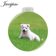 JWEIJIAO LOVE PETS DOGS Pocket Mirror With Massage Comb Mini RoundFolding Compact Portable Makeup Hand Vanity Mirrors Gifts