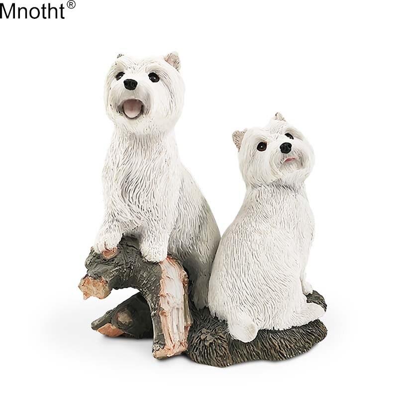 Mnemht 1/6 Két West Highland Kutya Annial Kutya Mini Toy Scene Resin - Játék figurák