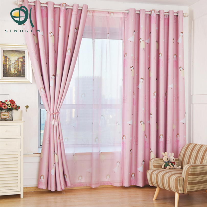 Sinogem Pink Princess Curtain For Living Room Windows Cartoon Lovely ...