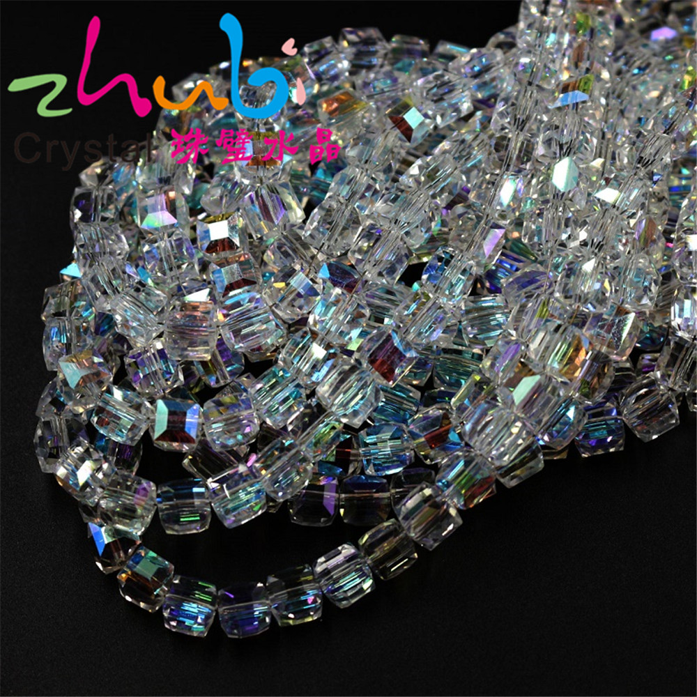 Chinese Crystal Square Beads Wholesale 2/3/4/6/8/10Mm Faceted Glass Cube Loose Spacer Beasds Accessories To Diy Make Bracelets image