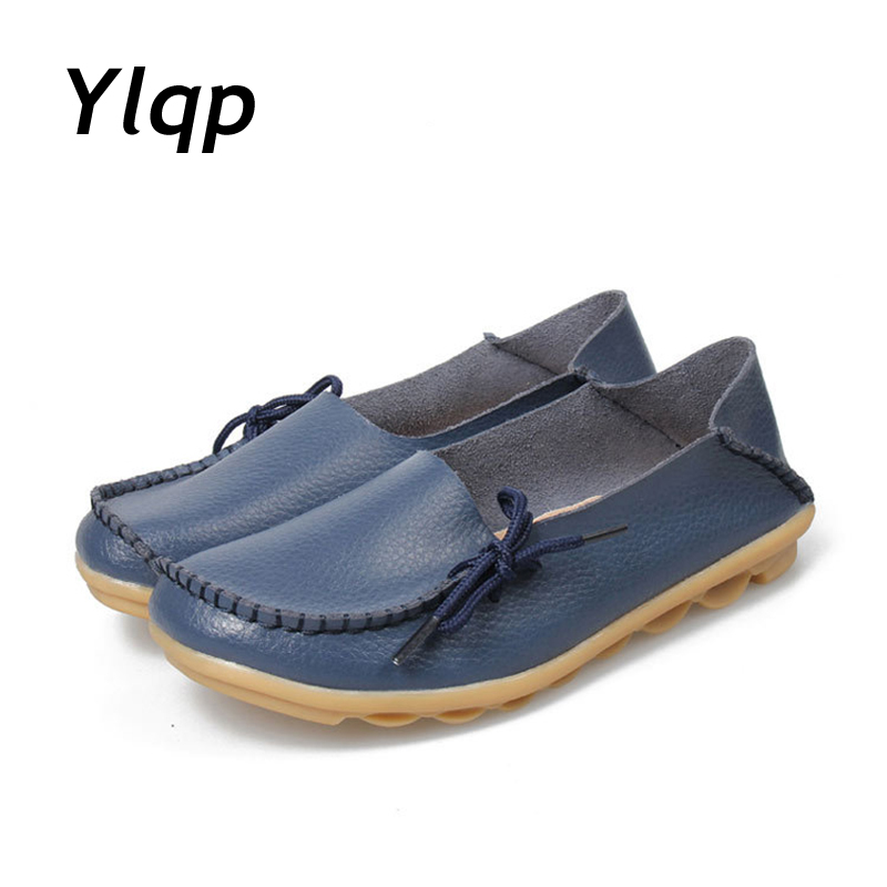 Female Loafers New lace Mother Flat shoes fashion shallow mouth Ladies Peas shoes tendon casual Women Leather shoes Plus Size aiyuqi 2018 spring new genuine leather women shoes shallow mouth casual shoes plus size 41 42 43 mother shoes female page 7