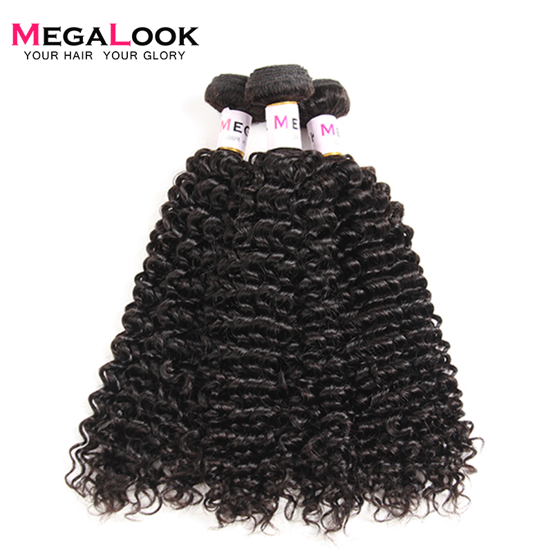 Megalook Brazilian Kinky Curly Hair 8 32 inch 3pcs 100 Human Hair Cuticle Aligned Remy Hair