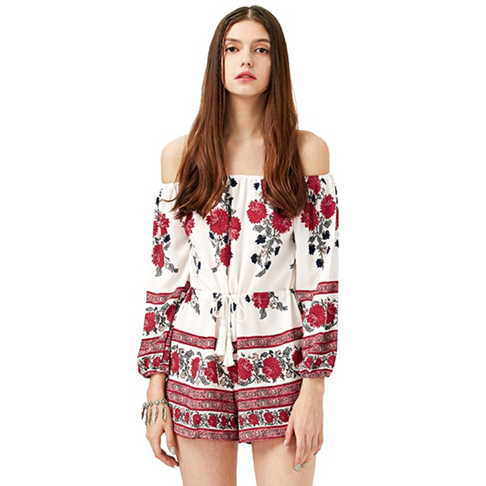 e5a0d070ba8 Wipalo Brand Sexy off shoulder red floral print elegant jumpsuit romper  Summer Style beach short playsuit Women overalls-in Rompers from Women s  Clothing on ...