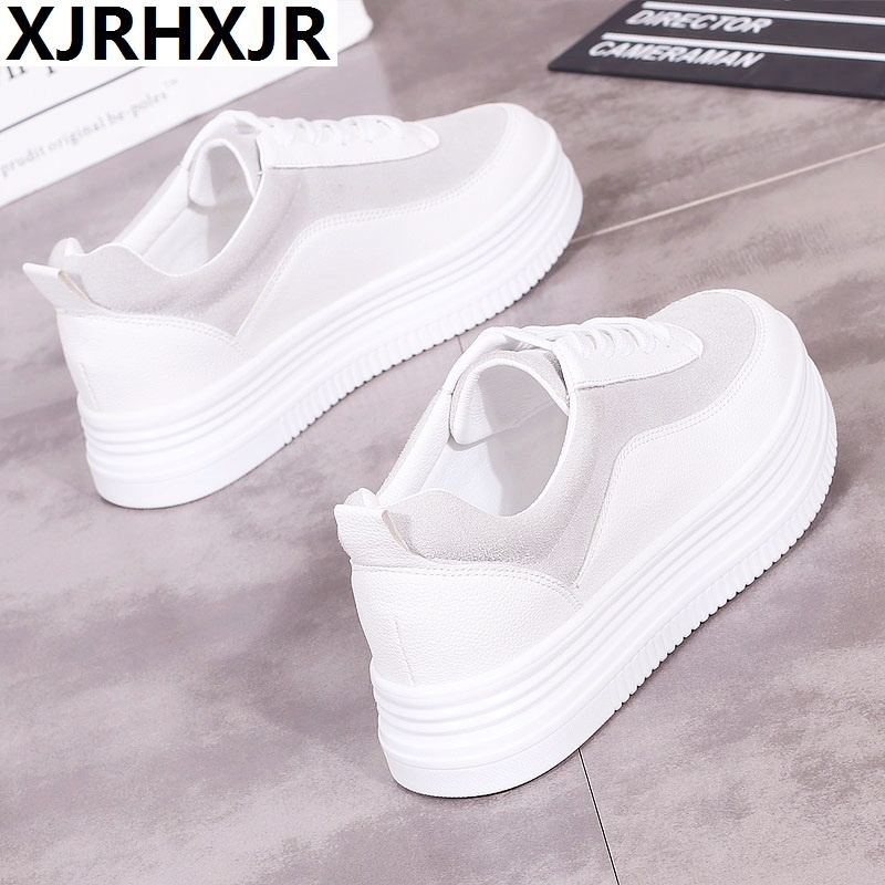 XJRHXJR 2018 Autumn Sneakers Women Casual Shoes Lace Up Suede Leather Flats Shoes Woman Oxfords Platform Creepers Boat Shoes women oxfords flats shoes leather lace up platform shoes woman 2016 brand fashion female casual white creepers shoes ladies 801