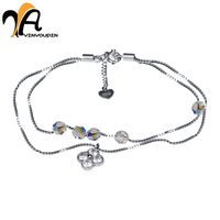 AYINYOUPIN Lovely Girl Silver Color Women Bracelet Murano Glass Bead Crystal New Breast Cancer Awareness Pink
