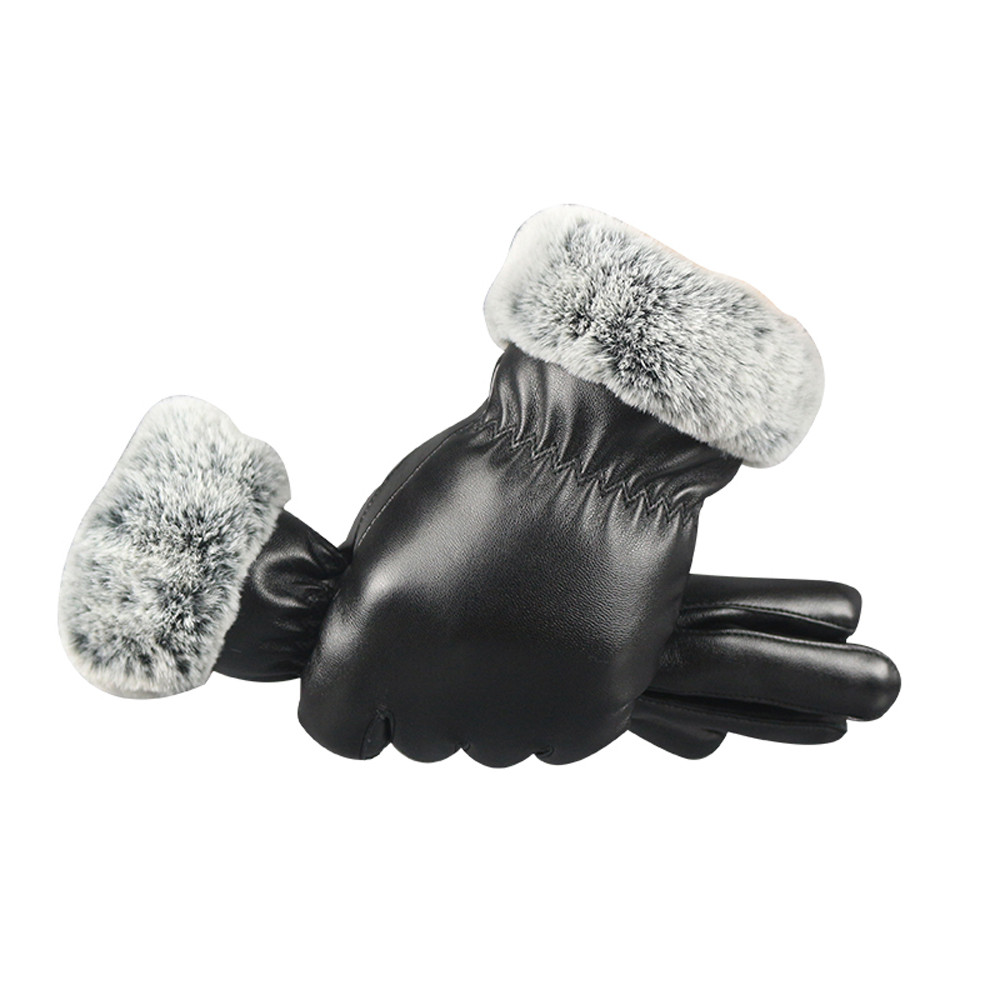 Ladies Cire Black Rabbit Fur Lined Leather Finger Mittens,Black