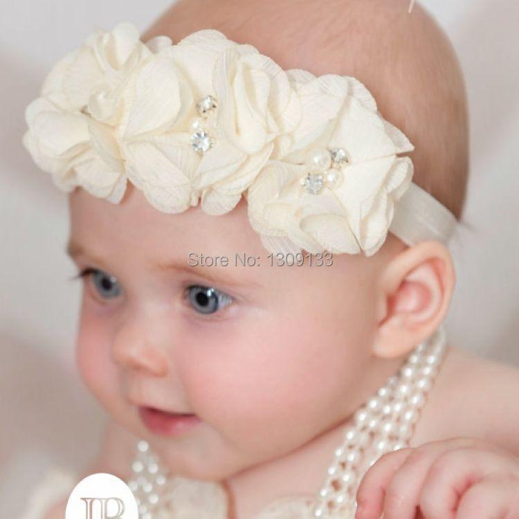 914c70177 120pcs lot Ivory baby girl headband