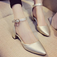 wild word buckle pointed coarse high heels with female Korean version Sandals women's Slippers lady loafer shoes girls Footwear