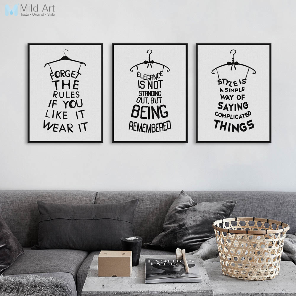 Modern Abstract Black Fashion Poster Print A4 Motivational