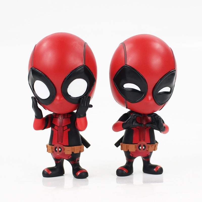 10cm Deadpool Figure Bobble-Head painted Deadpool spider man Black Panther Doll PVC action figure toys майка борцовка print bar painted man