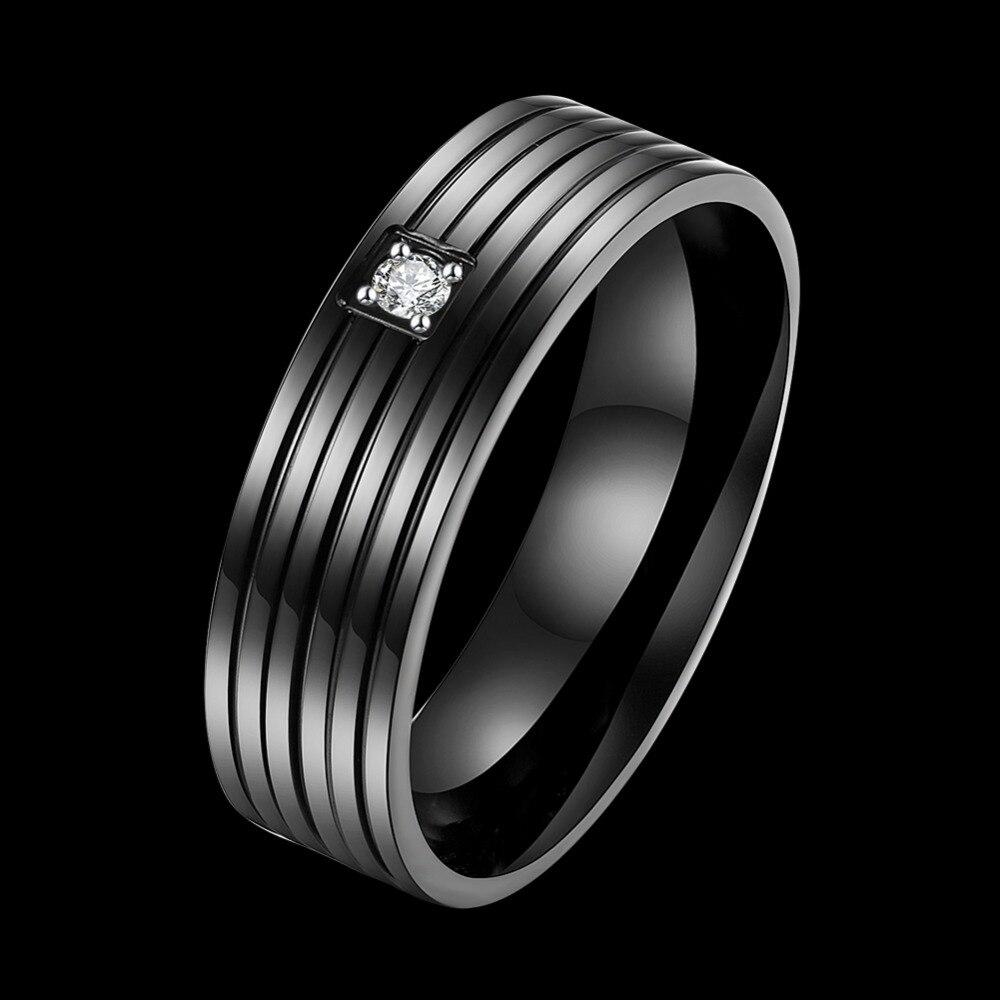 Seanuo элегантный черный пара кольцо из нержавеющей стали ювелирные изделия Вольфрам Сталь Свадебные Обручение обещание группа CZ цирконий ко...