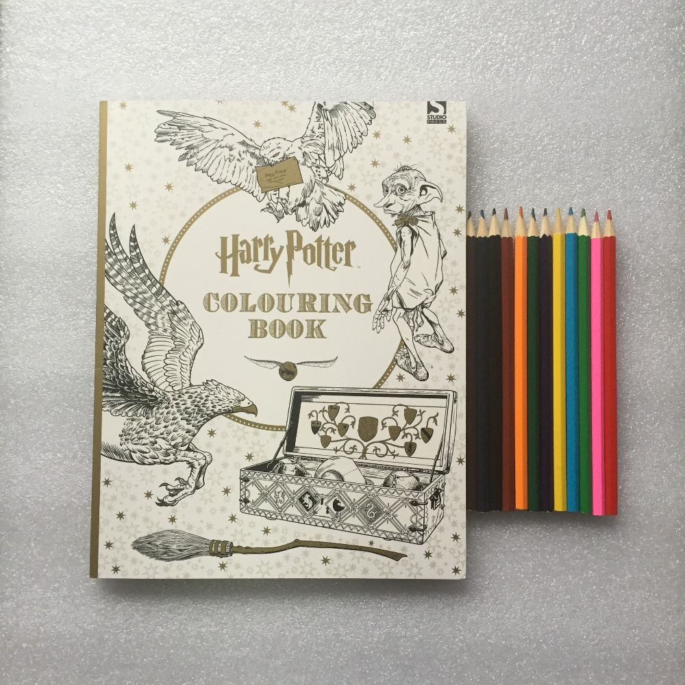 12 Color Pencils + Coloring Book ; books for Children adult secret garden Series Kill Time Painting Drawing Books