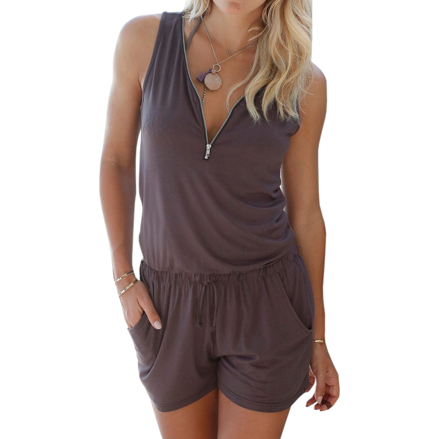Beach Summer Playsuits Sleeveless V neck Women Jumpsuits Shorts Solid Pockets Zipper Casual Office Playsuits Overalls