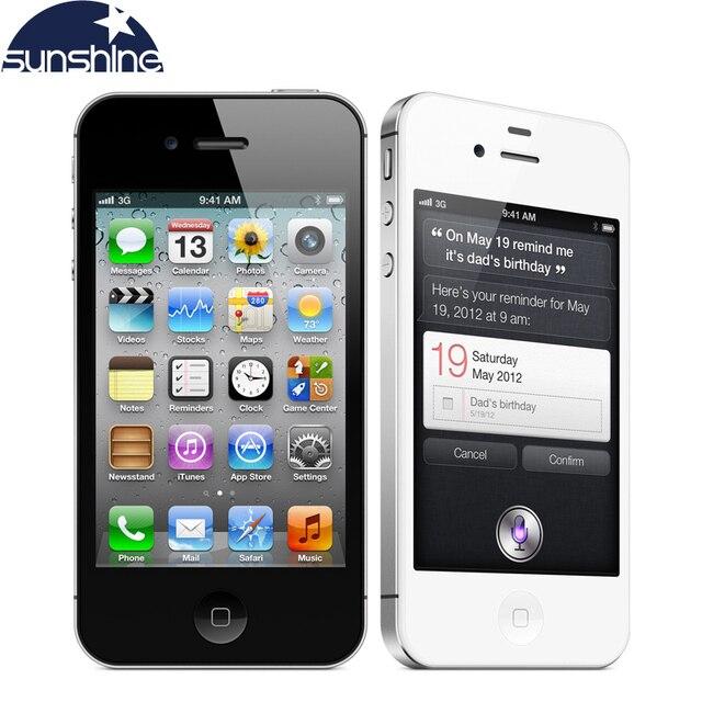 """IPhone4s Оригинальный Разблокирована Apple iPhone 4S Мобильный Телефон 3.5 """"IPS Смартфон 512 МБ RAM 16 ГБ ROM Используется Телефон 3 Г GPS iOS Сотовые Телефоны"""