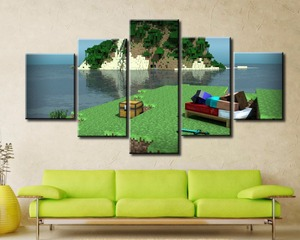 5 Panel Canvas Painting Home Decor For Living Room Minecraft HD Printed Game Poster Modern Wall Art Decoration Pictures Artwork