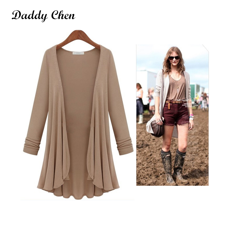 Daddy Chen Long Cardigan Women Thin Sweater Sleeve with Plated Hem Summer Knitwear Oversize Streetwear Modis